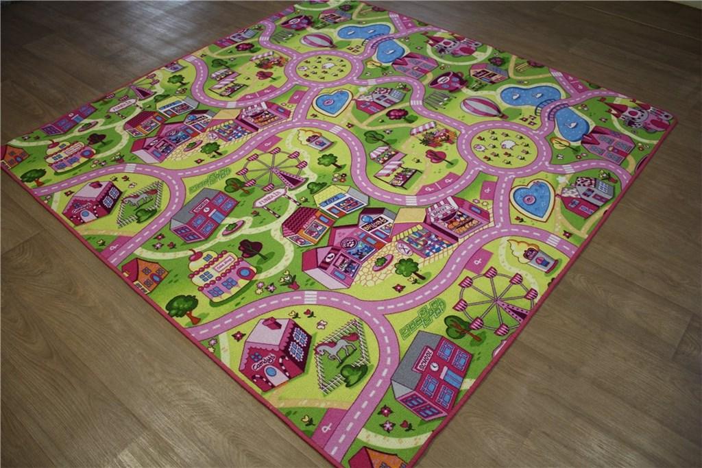 kinder teppich stra en 200x200 cm spielteppich gr n pink. Black Bedroom Furniture Sets. Home Design Ideas