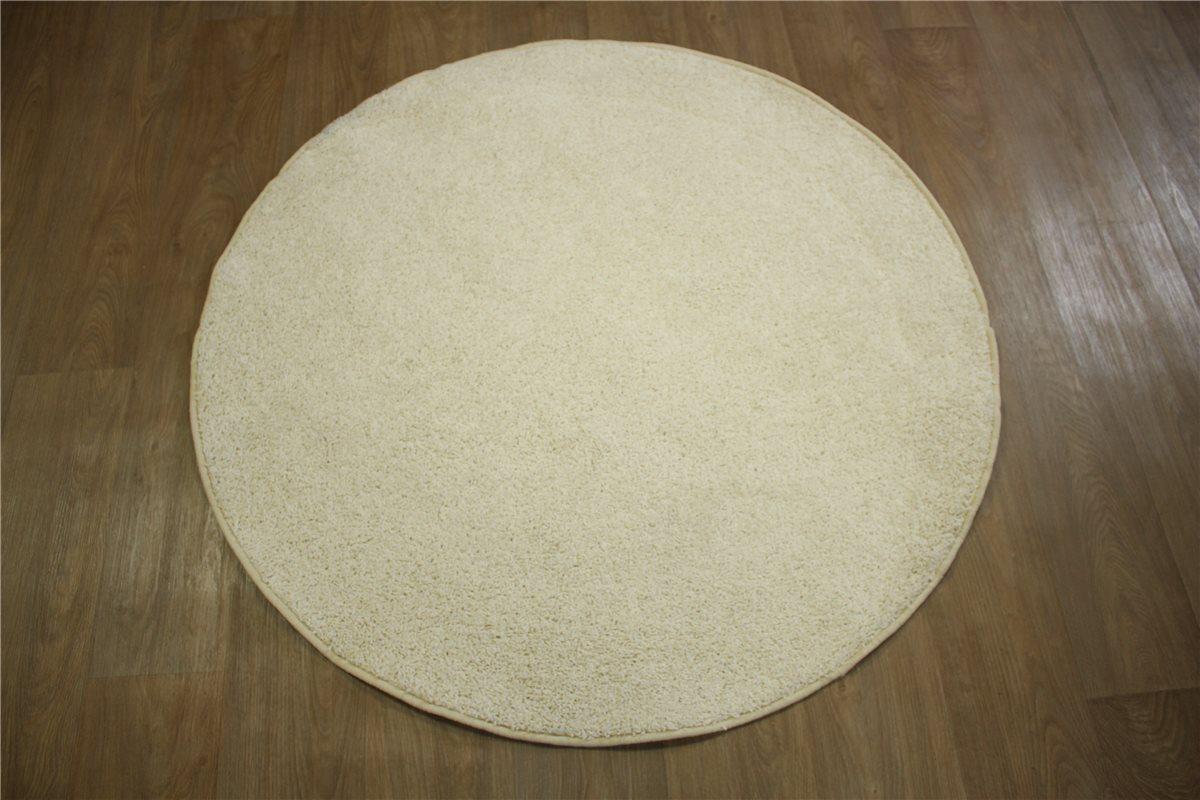 Teppich rund Kräusel Velour Shaggy 130×130 cm creme weiß