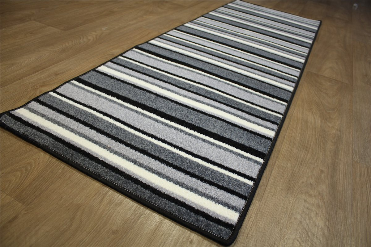 Teppich Küchenläufer Läufer Velour 65×200 cm grau silber