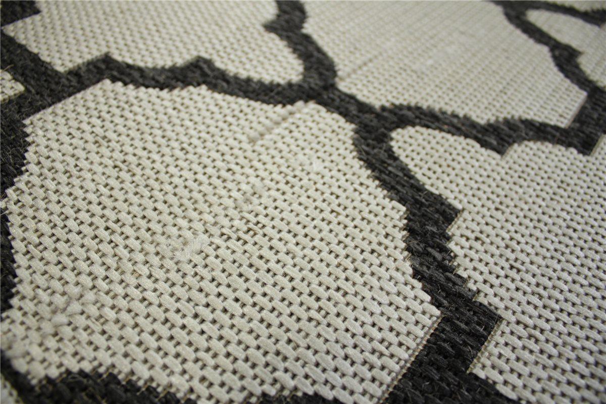 Teppich Flachgewebe Sisal Optik 130×190 cm schwarz silber