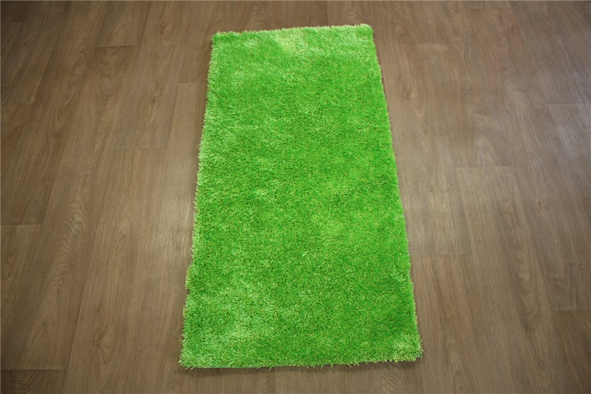 designer teppich shaggy velour soft langflor br cke 70x140 cm leuchtgr n. Black Bedroom Furniture Sets. Home Design Ideas