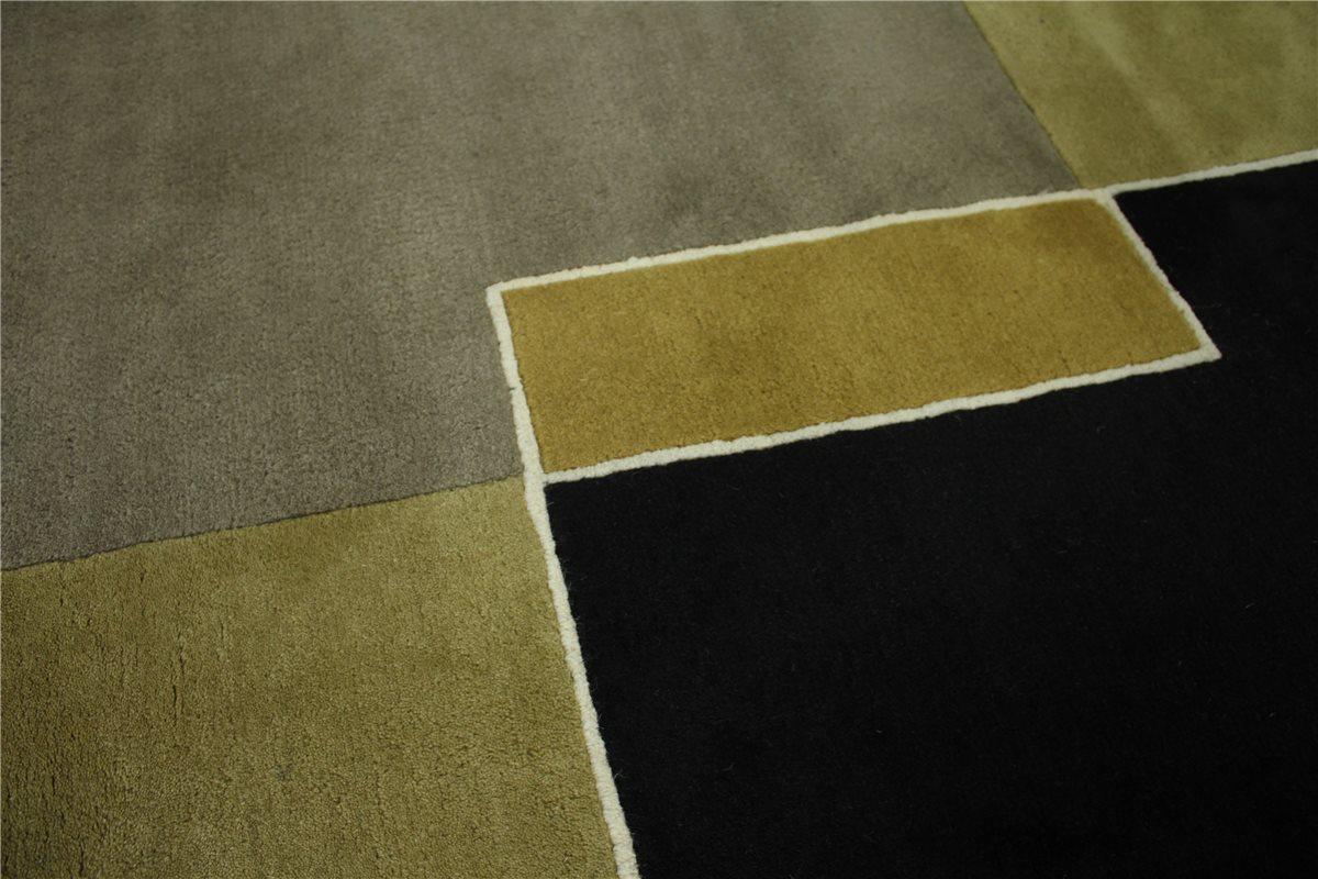Teppich 155×220 cm 100% Wolle Handtuft Grau Braun Schwarz