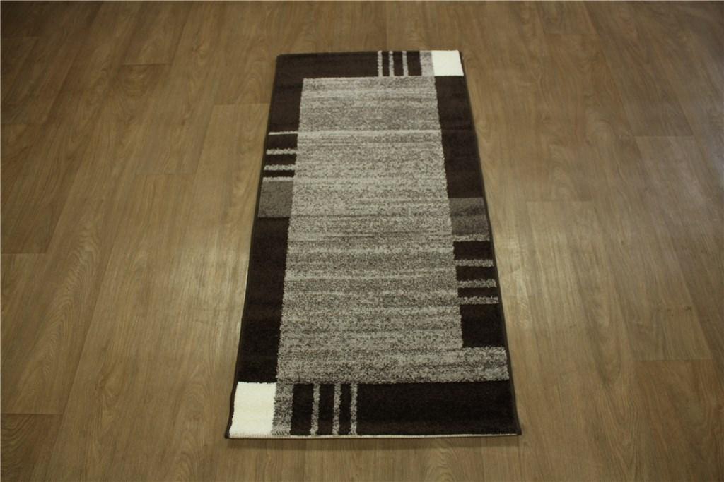 designer teppich velour br cke 70x140 cm braun grau meliert ebay. Black Bedroom Furniture Sets. Home Design Ideas