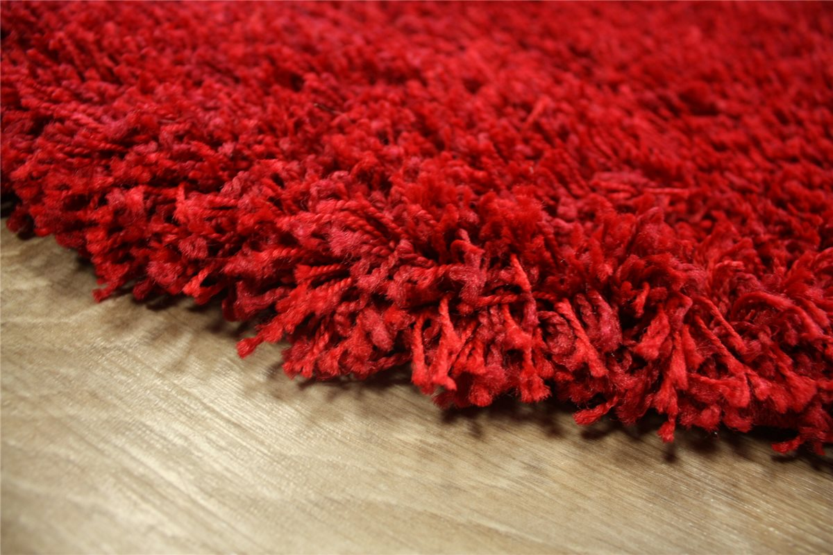 teppich shaggy hochflor langflor rund 200x200 cm rot ebay. Black Bedroom Furniture Sets. Home Design Ideas