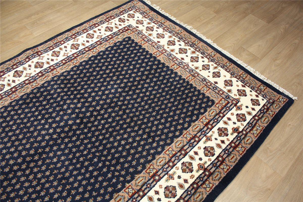 teppich orient indo mir 170x225 cm handgekn pft 100 wolle blau. Black Bedroom Furniture Sets. Home Design Ideas