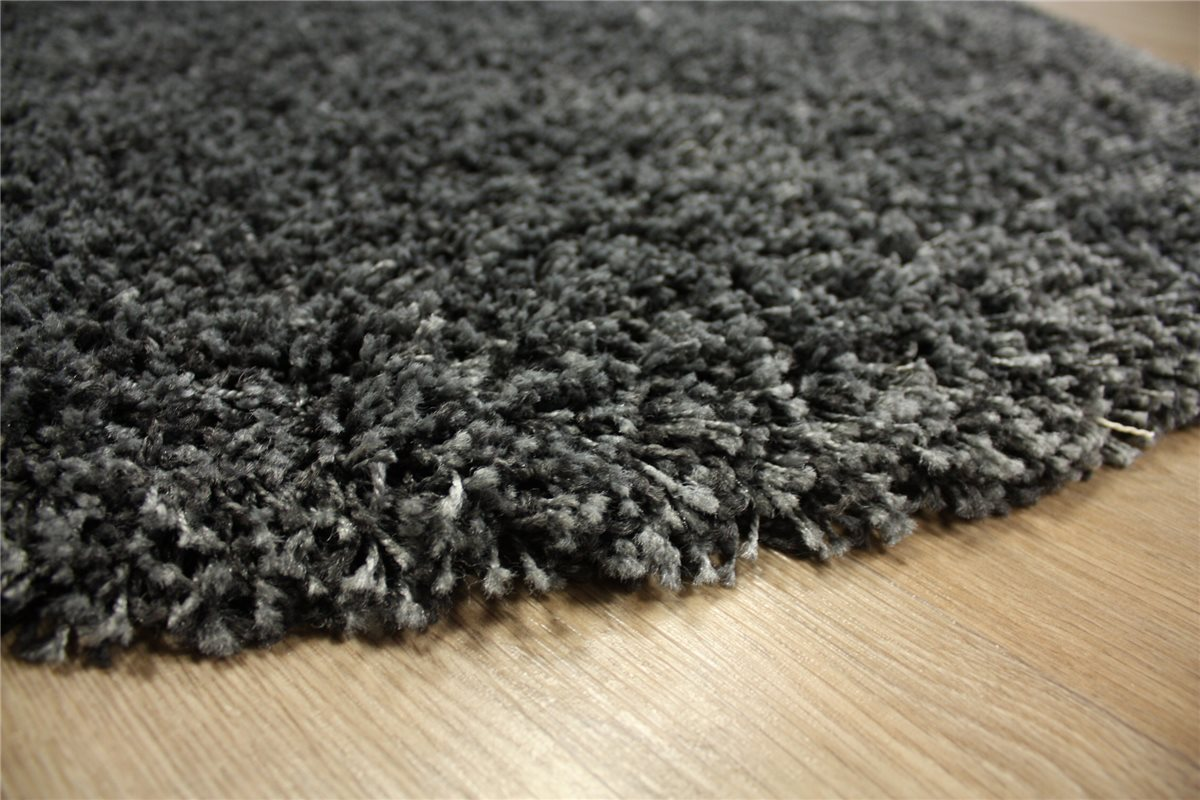 teppich shaggy hochflor langflor rund 120x120 cm anthrazit ebay. Black Bedroom Furniture Sets. Home Design Ideas