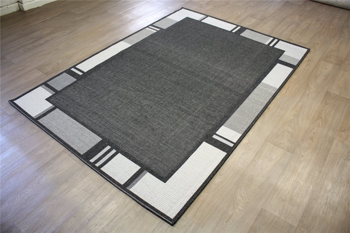 moderne teppich flachgewebe sisal optik 160x230 cm anthrazit silber ebay. Black Bedroom Furniture Sets. Home Design Ideas