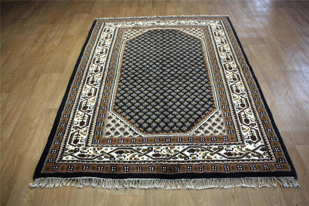 teppich orient indo mir 160x230 cm handgekn pft 100 wolle blau ebay. Black Bedroom Furniture Sets. Home Design Ideas