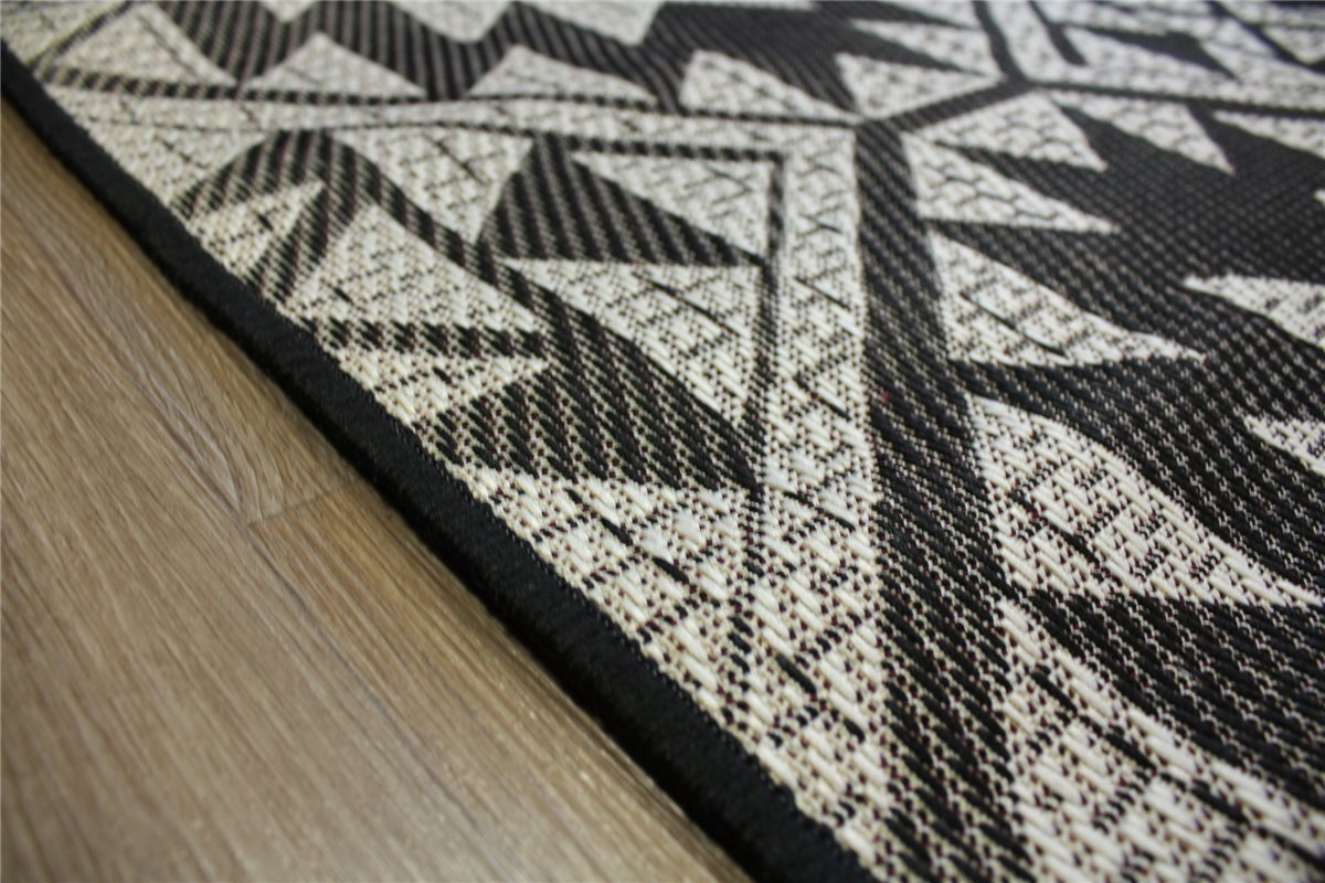 teppich in outdoor flachgewebe 130x185 cm beidseitig verwendbar schwarz ebay. Black Bedroom Furniture Sets. Home Design Ideas