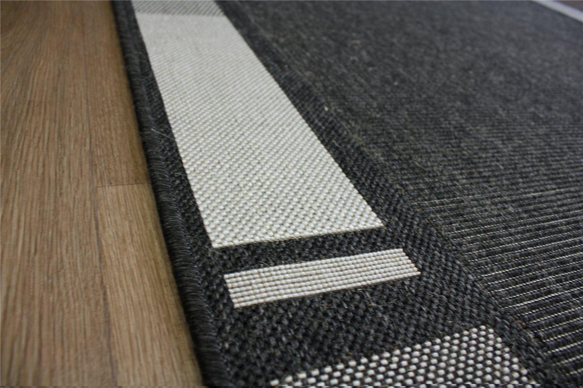 Teppich Flachgewebe Sisal Optik 120×170 cm anthrazit