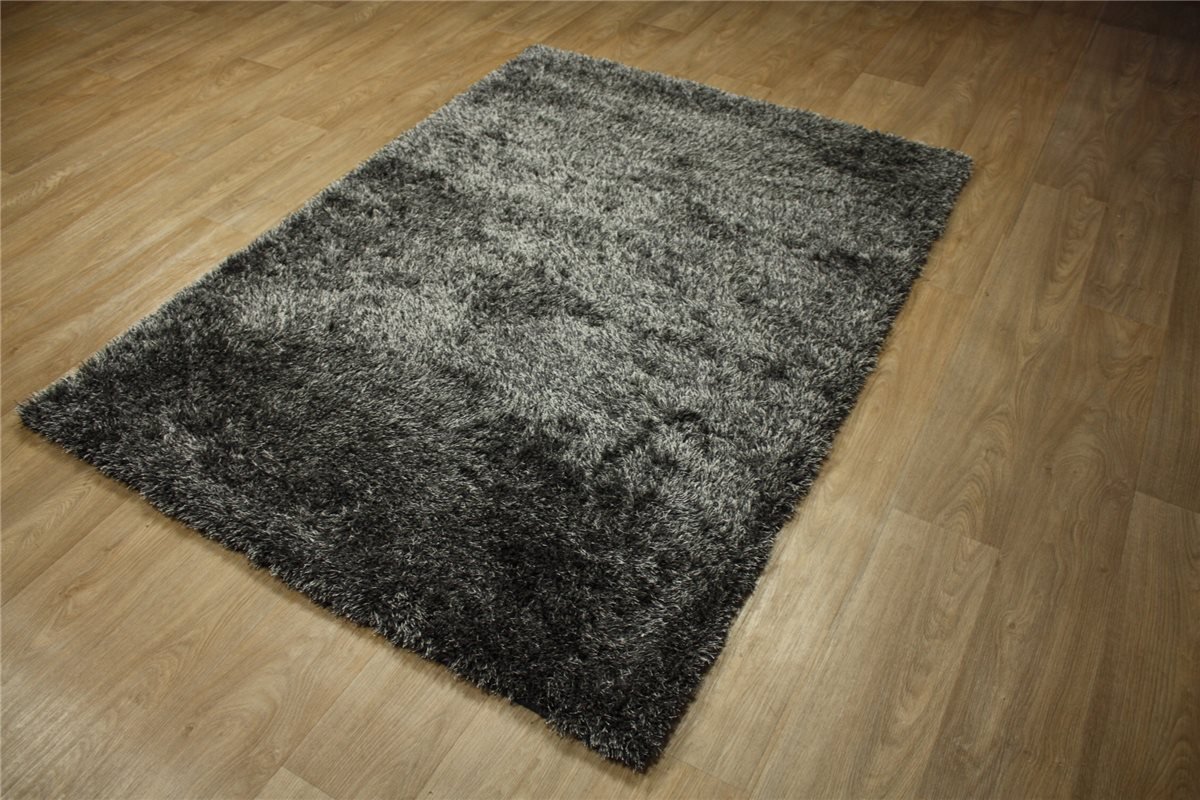 hochwertiger teppich shaggy langflor hochflor 140x200 cm anthrazit ebay. Black Bedroom Furniture Sets. Home Design Ideas