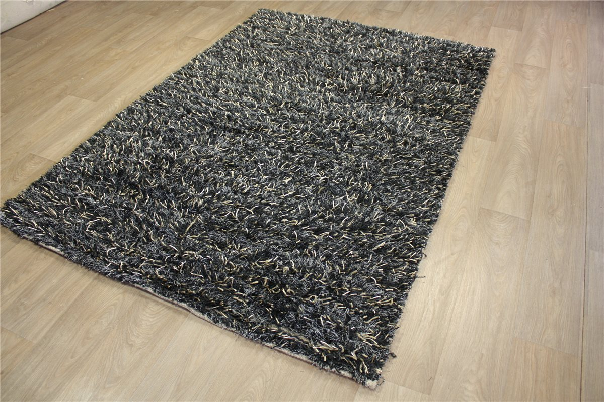 teppich shaggy hochflor 165x235cm langflor carpet rug schwarz gold ebay. Black Bedroom Furniture Sets. Home Design Ideas
