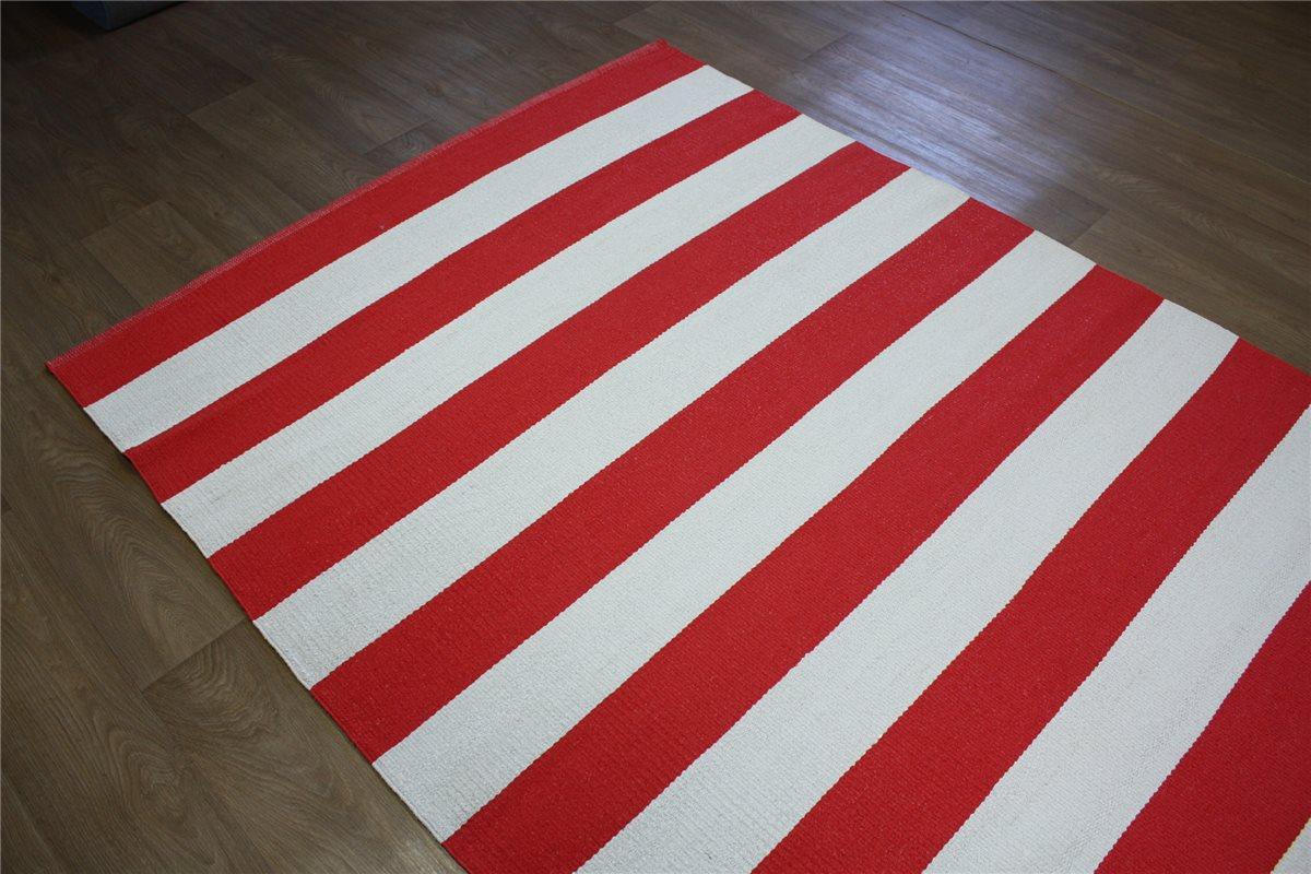 teppich in outdoor flachgewebe 160x230 cm rot wei streifen ebay. Black Bedroom Furniture Sets. Home Design Ideas