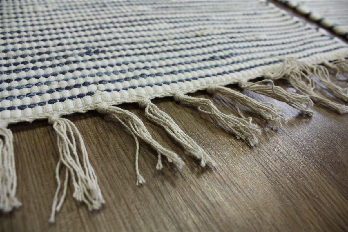 3x teppich br cke fleckerl handweb 60x120 cm 100 baumwolle blau wei ebay. Black Bedroom Furniture Sets. Home Design Ideas
