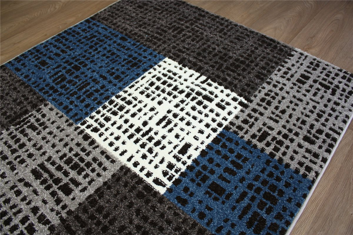 teppich velour patchwork karo 120x170 cm carpet rug grau wei blau ebay. Black Bedroom Furniture Sets. Home Design Ideas