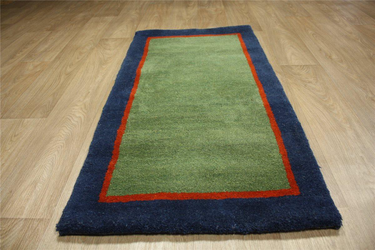 hochwertiger teppich gabbeh br cke 70x140 cm 100 wolle gr n blau ebay. Black Bedroom Furniture Sets. Home Design Ideas