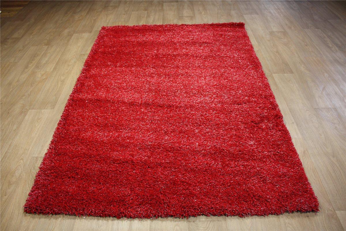 teppich shagg glamour hochflor langflor 160x230 cm rot mit glitzer ebay. Black Bedroom Furniture Sets. Home Design Ideas