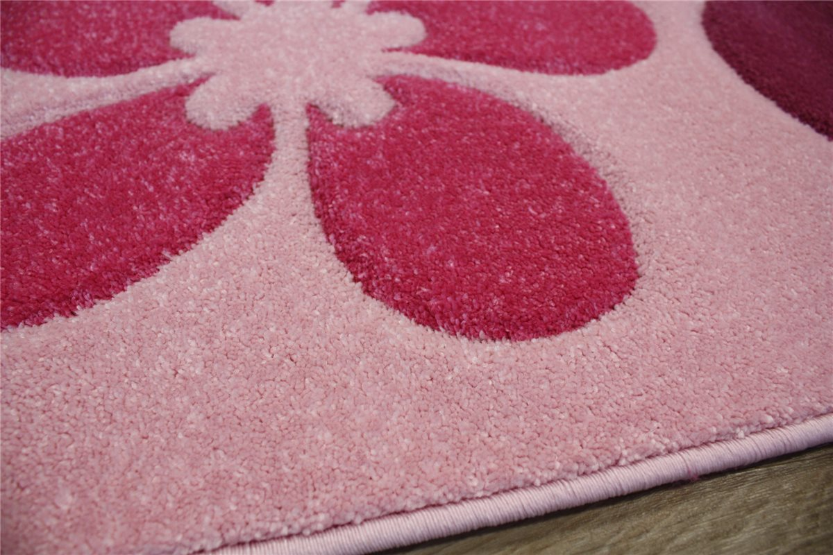 kinder teppich velour 160x230 cm carpet rug rosa pink reliefschnitt ebay. Black Bedroom Furniture Sets. Home Design Ideas