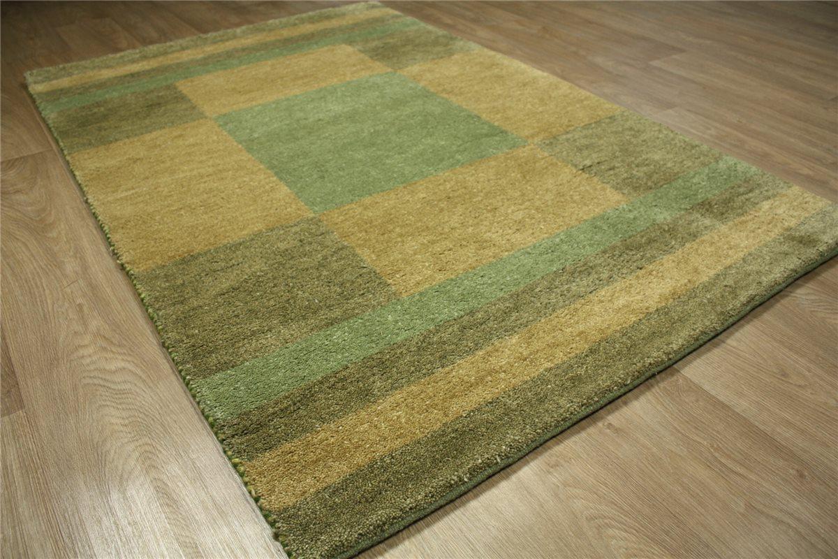 hochwertiger teppich gabbeh 120x180 cm 100 wolle gr n braun ebay. Black Bedroom Furniture Sets. Home Design Ideas