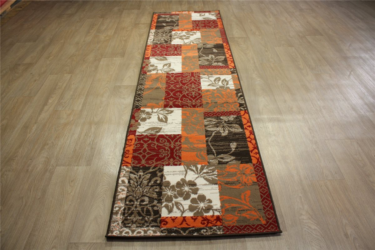 teppich velour patchwork l ufer 80x300 cm carpet orange braun ebay. Black Bedroom Furniture Sets. Home Design Ideas