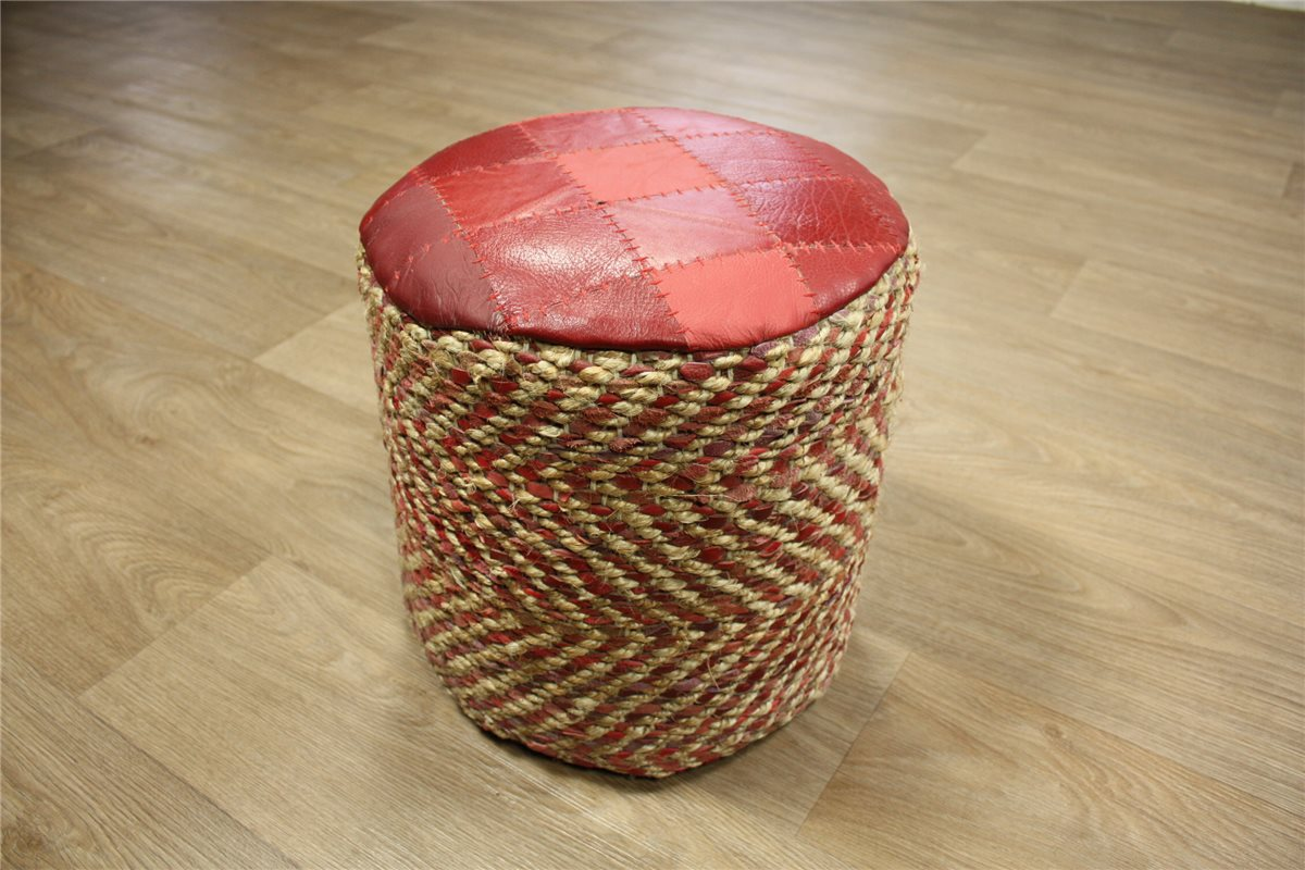 sitzkissen sitzhocker hocker pouf 35 35x35 cm leder sisal rund handarbeit ebay. Black Bedroom Furniture Sets. Home Design Ideas