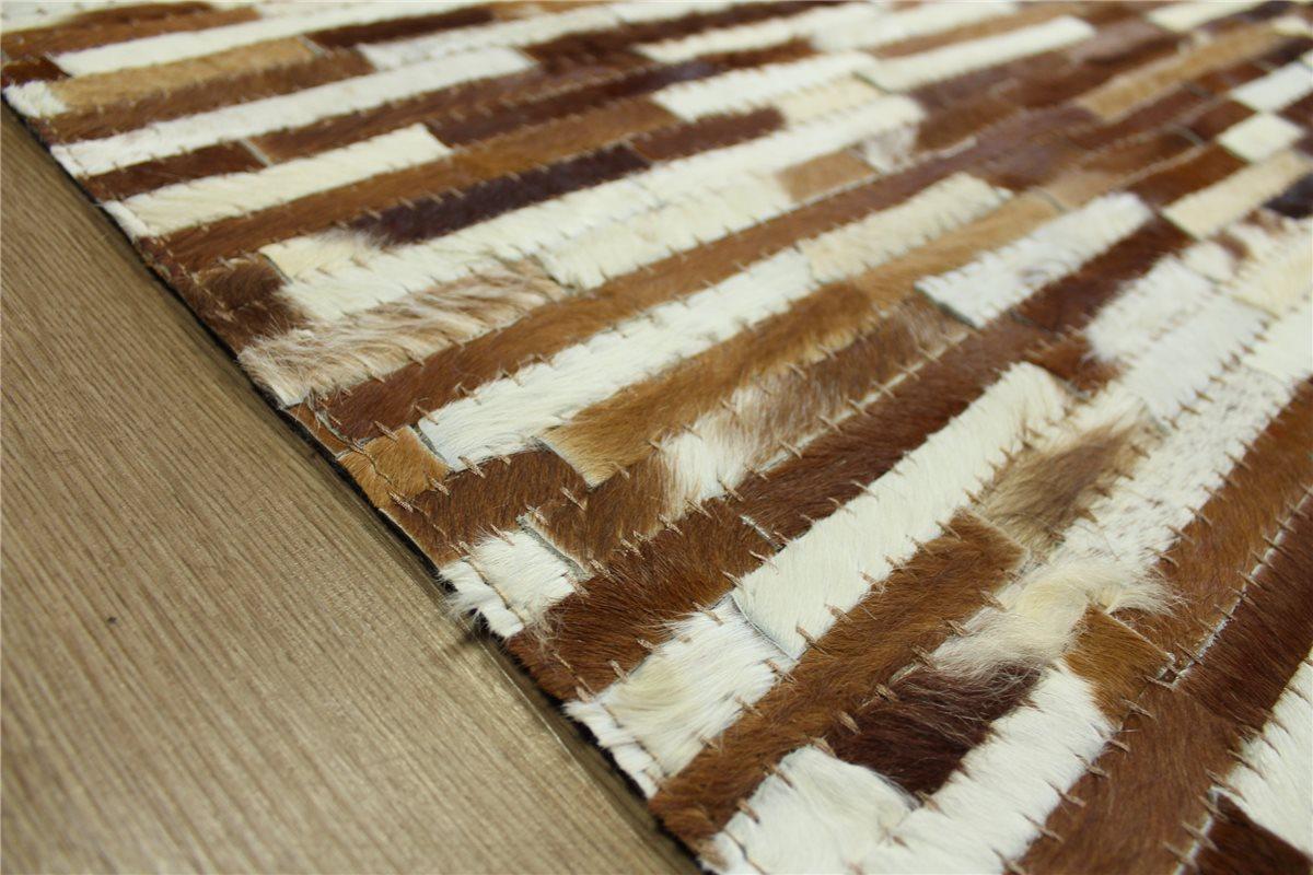 teppich patchwork echt leder 160x230 cm vintage cowhide kuhfell ivory braun ebay. Black Bedroom Furniture Sets. Home Design Ideas