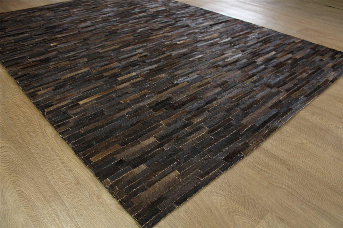 teppich patchwork echt leder 160x230 cm vintage cowhide kuhfell dunkel braun ebay. Black Bedroom Furniture Sets. Home Design Ideas