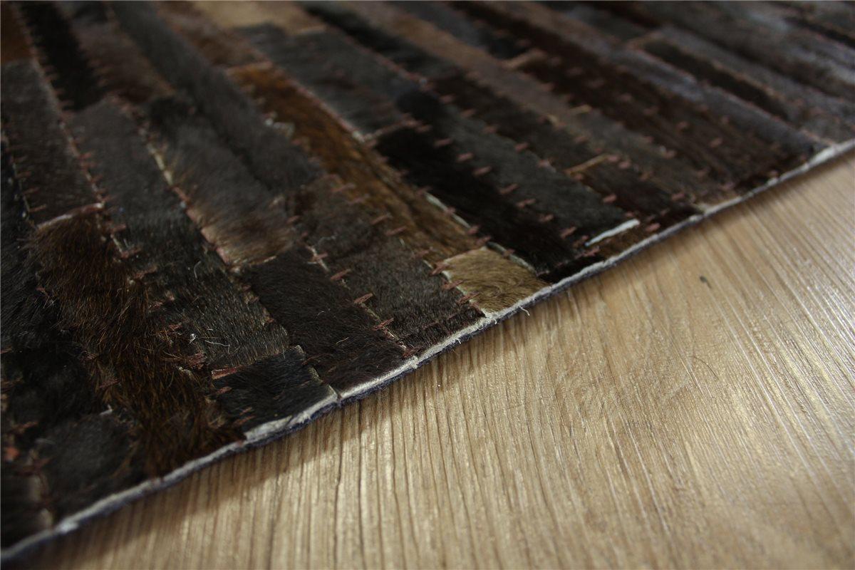 Tapis patchwork cuir v ritable 160x230 cm vintage peau de vache marron fonc - Tapis cuir patchwork ...