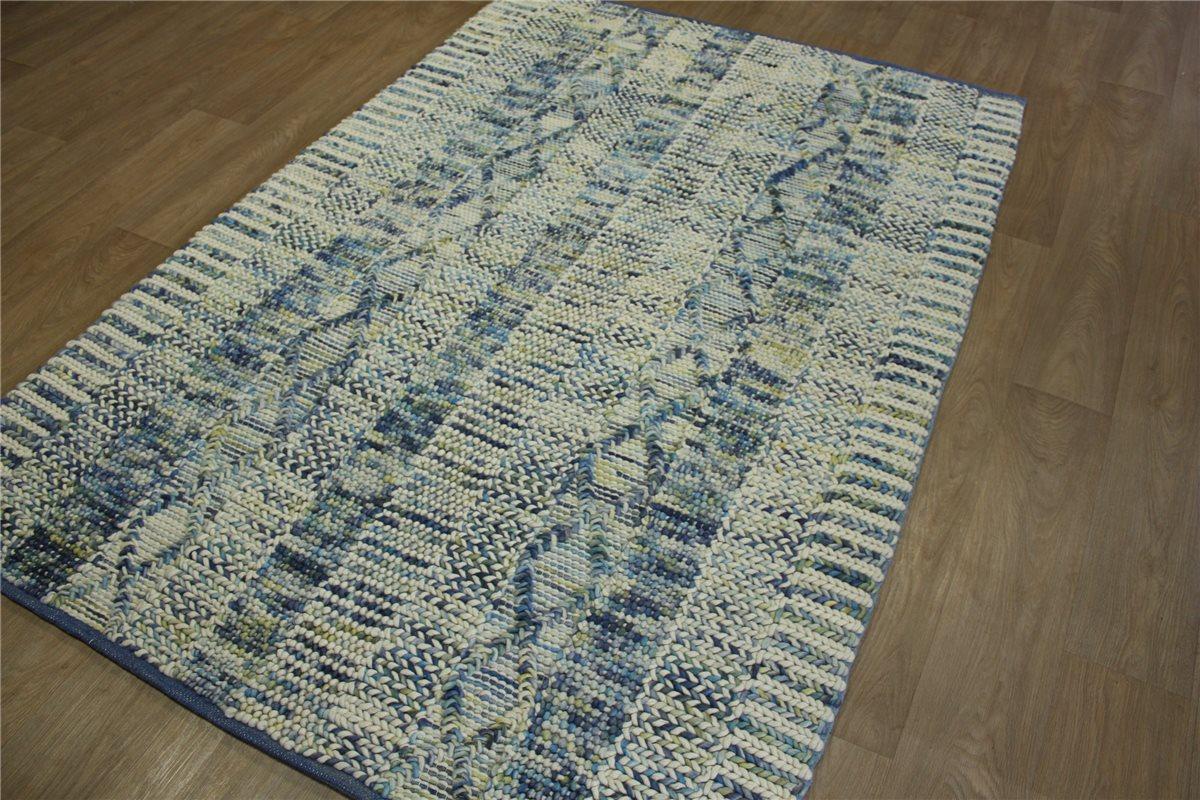 hochwertiger designer teppich 160x230 cm 100 wolle handgewebt tinten blau ebay. Black Bedroom Furniture Sets. Home Design Ideas