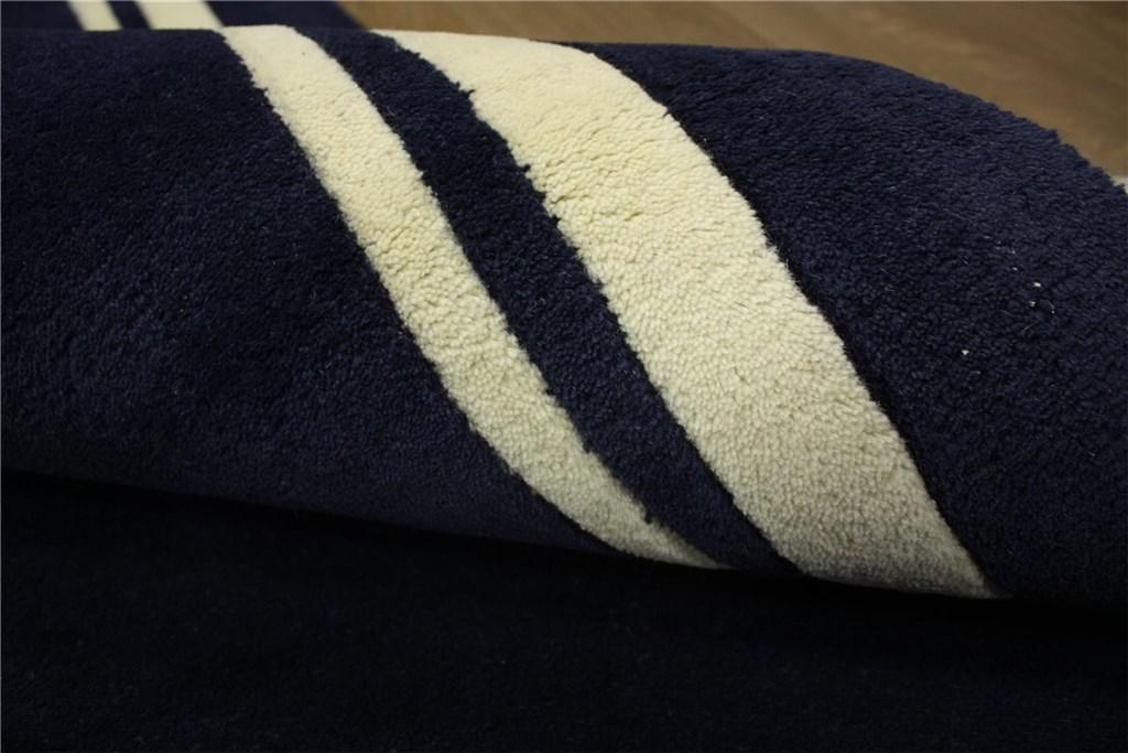 designer teppich br cke l ufer 90x160 cm 100 wolle handtuft dunkel blau ebay. Black Bedroom Furniture Sets. Home Design Ideas