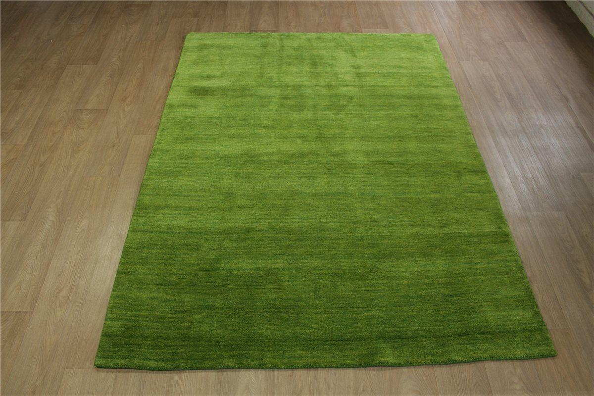 hochwertiger teppich gabbeh fein 200x300 cm 100 wolle gr n meliert ebay. Black Bedroom Furniture Sets. Home Design Ideas