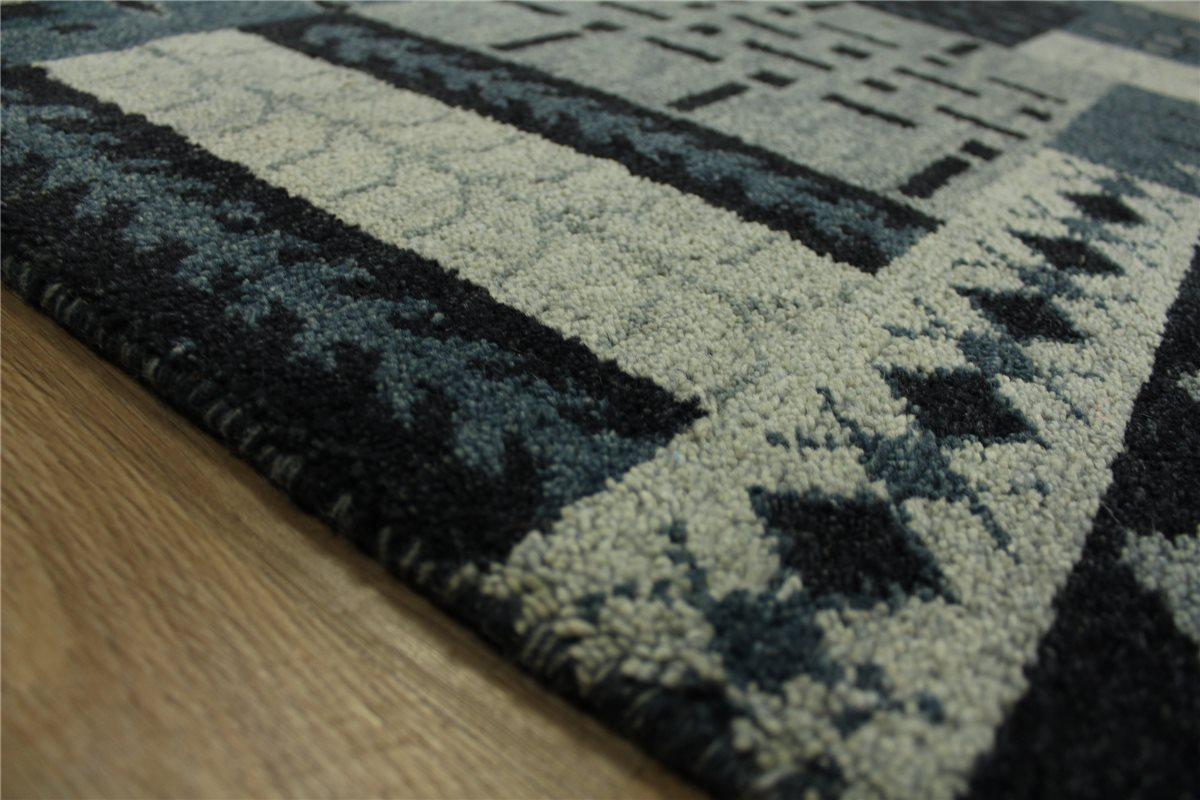 teppich gabbeh patchwork handgekn pft 140x200 cm 100 wolle grau ebay. Black Bedroom Furniture Sets. Home Design Ideas