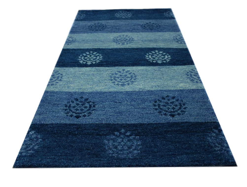 carpet rug gabbeh br cke excellent hand knotted 70x140 cm 100 wool blue mottled ebay. Black Bedroom Furniture Sets. Home Design Ideas