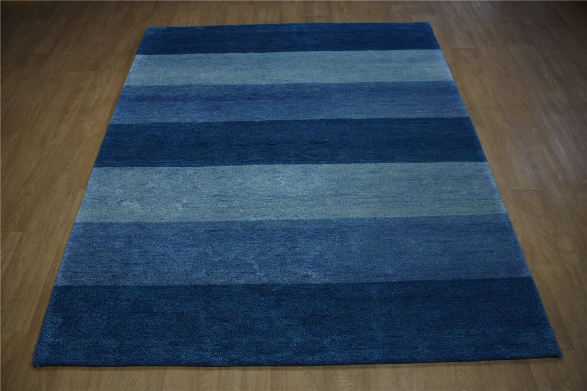 teppich gabbeh mocol twist handgekn pft 200x250 cm 100 wolle blau meliert. Black Bedroom Furniture Sets. Home Design Ideas