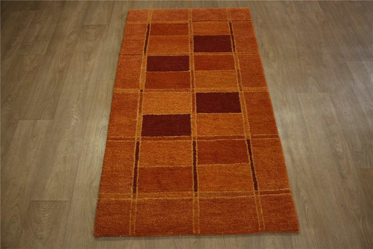 carpet rug gabbeh br cke hand knotted 90x160 cm 100 wool orange brown burgundy ebay. Black Bedroom Furniture Sets. Home Design Ideas
