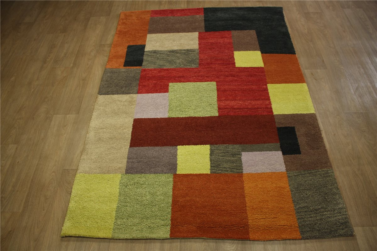 teppich gabbeh patchwork handgekn pft 170x240 cm 100 wolle rot grau braun ebay. Black Bedroom Furniture Sets. Home Design Ideas