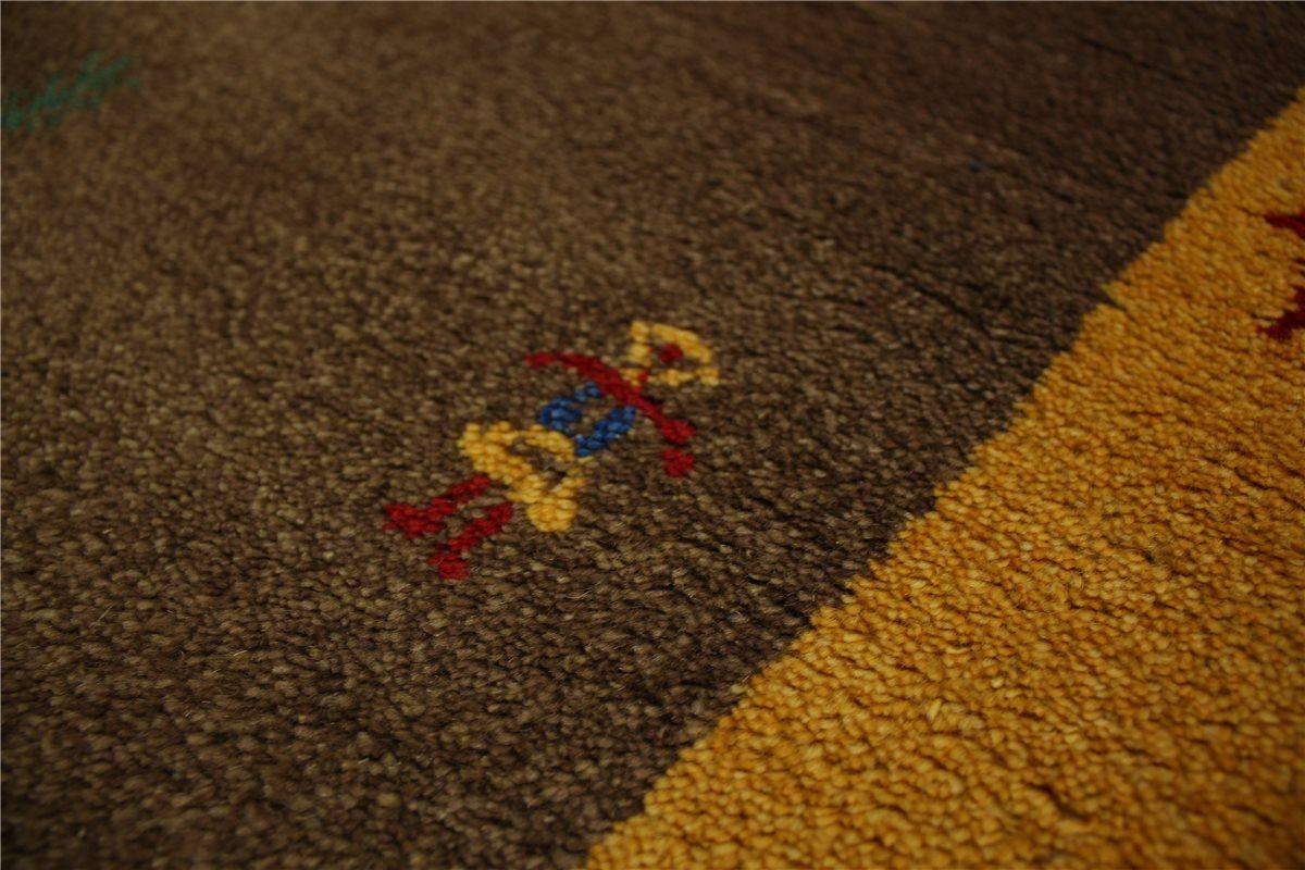 teppich gabbeh schurwolle handgekn pft 90x160 cm 100 wolle braun gelb meliert ebay. Black Bedroom Furniture Sets. Home Design Ideas