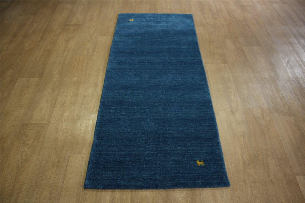 teppich gabbeh fein l ufer handgewebt 80x200 cm 100 wolle blau meliert ebay. Black Bedroom Furniture Sets. Home Design Ideas