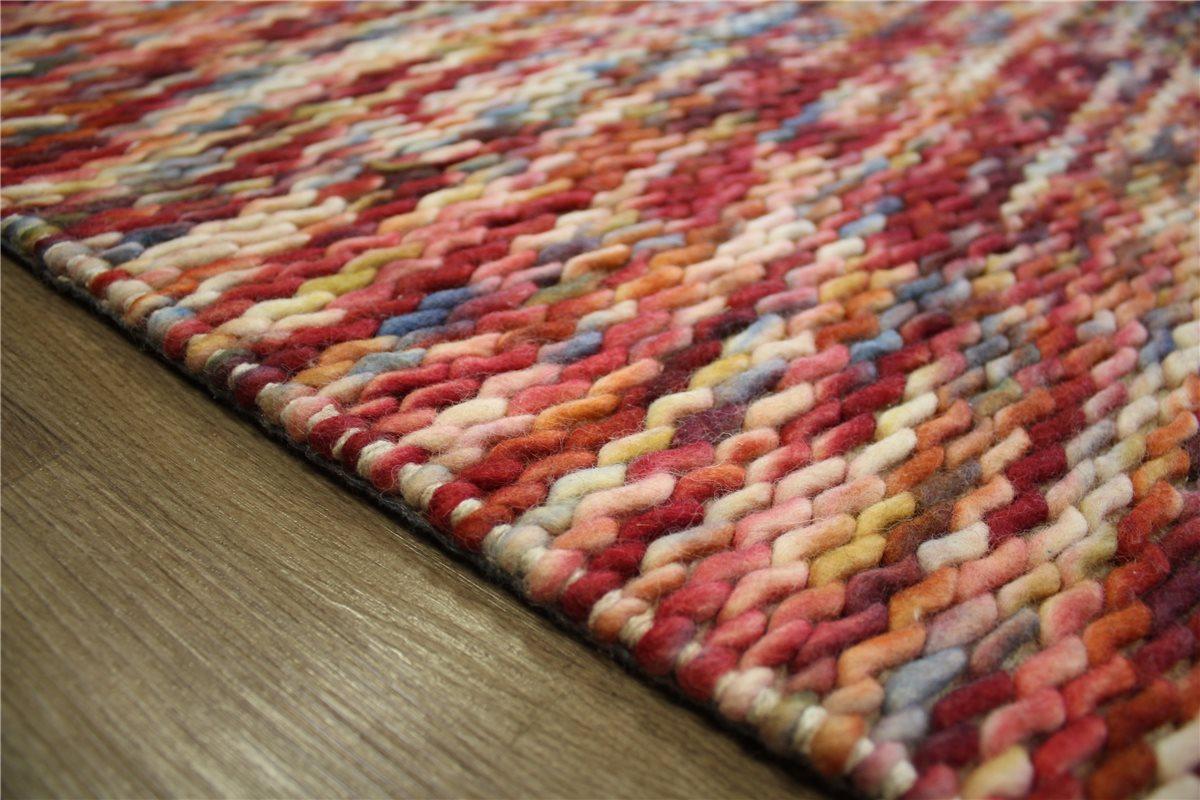 designer teppich 160x230 cm 100 wolle handgewebt rot blau meliert ebay. Black Bedroom Furniture Sets. Home Design Ideas
