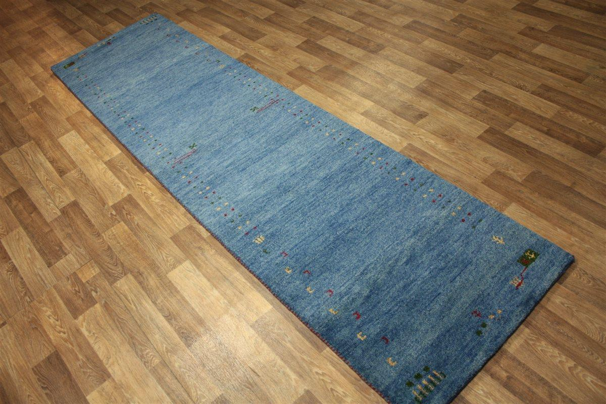 hochwertiger teppich gabbeh l ufer 80x250 cm 100 wolle 5 kg m blau ebay. Black Bedroom Furniture Sets. Home Design Ideas