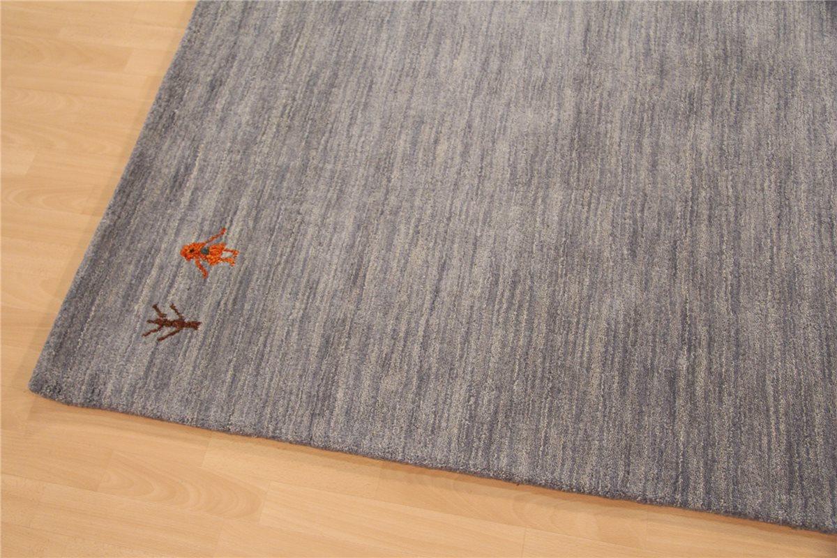 Designer Teppich Grau Schurwolle Wolle : Teppich Gabbeh Modern ~ 200x300 cm ~ 100% Wolle 4 kg/m² ~ meliert ...