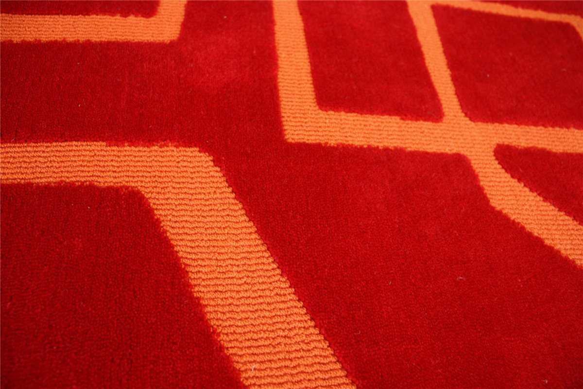 hochwertiger designer teppich 170x240 cm 100 acryl handgetuftet rot ebay. Black Bedroom Furniture Sets. Home Design Ideas