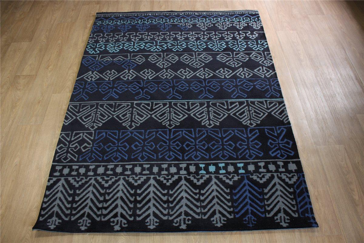 hochwertiger designer teppich 170x240 cm 100 acryl handtuft blau grau ebay. Black Bedroom Furniture Sets. Home Design Ideas
