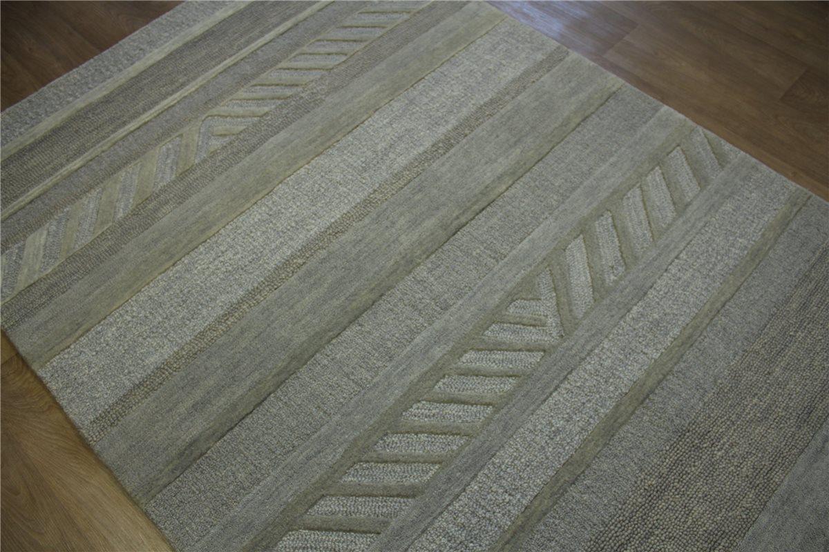 teppich schurwolle handarbeit 160x240 cm 100 wolle grau silber ebay. Black Bedroom Furniture Sets. Home Design Ideas