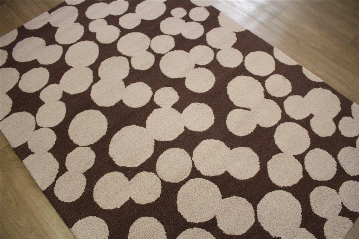 teppich schurwolle 150x230 cm 100 wolle handgetuftet braun creme ebay. Black Bedroom Furniture Sets. Home Design Ideas