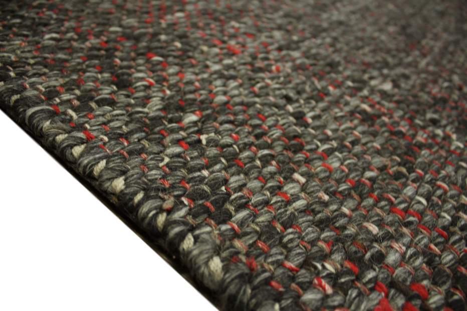 teppich schurwolle 160x230 cm 100 wolle handgewebt schwarz grau rot meliert ebay. Black Bedroom Furniture Sets. Home Design Ideas