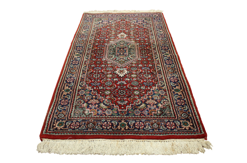 orient teppich fein rug 70x140 cm 100 wolle handgekn pft rot gr n neuwertig ebay. Black Bedroom Furniture Sets. Home Design Ideas