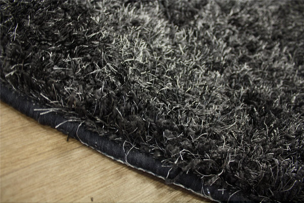 design Tapis Shaggy tapis u00e0 poils longs rond 150x150 cm anthracite ...