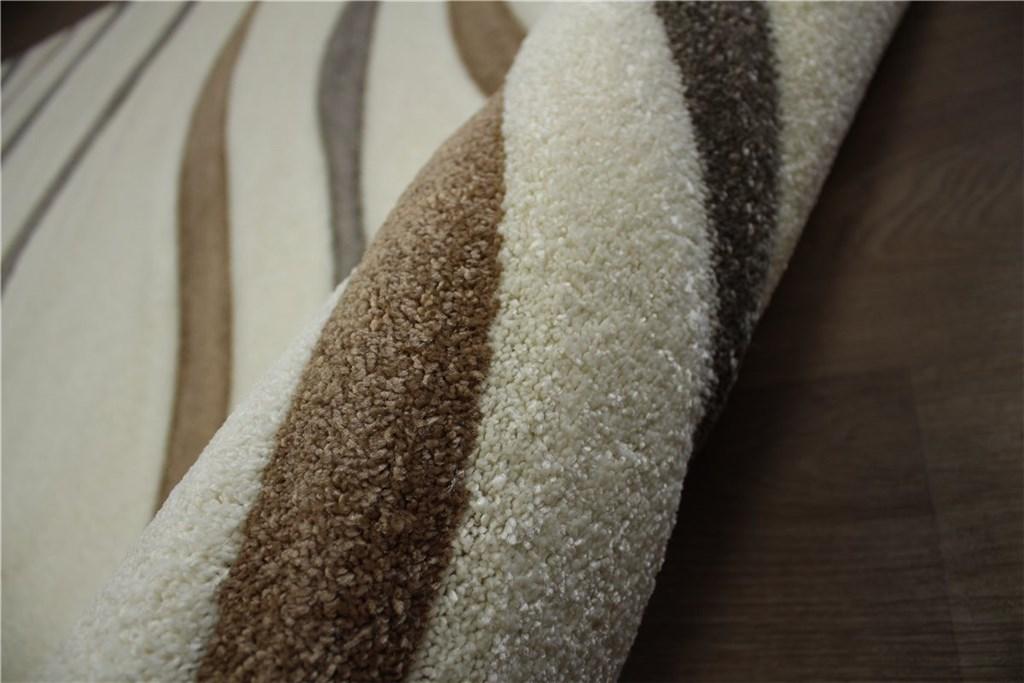 designer teppich velour 160x230 cm handgeschnitzt cremewei braun ebay. Black Bedroom Furniture Sets. Home Design Ideas