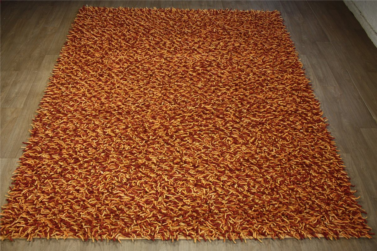hochwertiger teppich shaggy hochflor 250x290 cm 100 wolle handgewebt gelb rot ebay. Black Bedroom Furniture Sets. Home Design Ideas